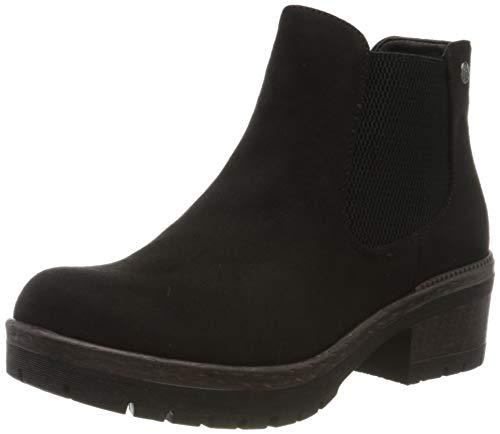 Rieker Damen Stiefeletten 95284, Frauen Chelsea Boots, Women Woman Freizeit leger Stiefel halbstiefel Bootie Schlupfstiefel,Black,40 EU / 6.5 UK