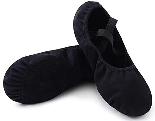 Zapatos de Ballet Niña Zapatillas de Ballet Mujer de Danza y Gimnasia Baile con Suela Partida Negro 24 ✅