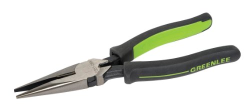 """Greenlee 0351-08M Long Nose Pliers/Side Cutting, Molded Grip, 8"""""""