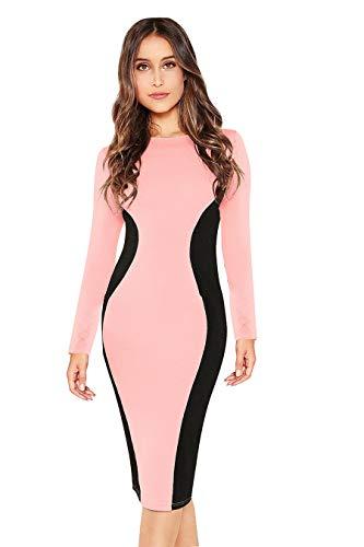 ILLI LONDON Women's Bodycon Knee Length Dress (IL D-364,386_Pink_Medium)