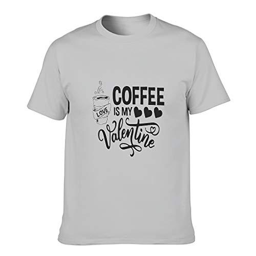 Maglietta da uomo in cotone con scritta 'Coffee ist mein San Valentino, novità divertente e moderna, modello a maniche corte Argento L