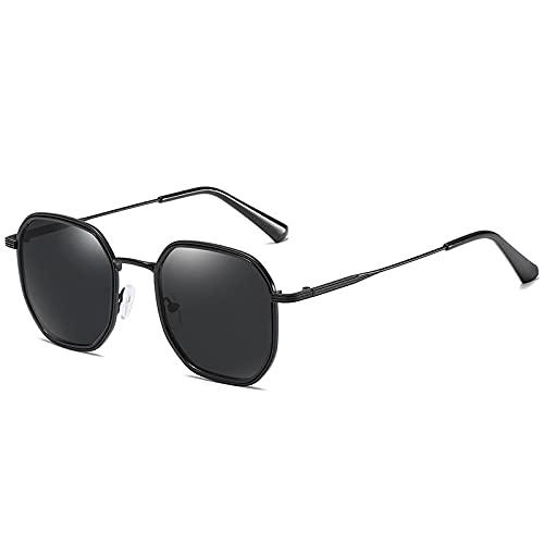 ZHAO Gafas De Sol, Gafas De Sol Vintage, Gafas De Sol para Hombres, Gafas De Sol Poligonales, Gafas De Sol Polarizadas