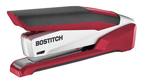 Bostitch Office InPower Spring-Powered Premium Desktop Stapler - One Finger, No Effort, Red/Silver (1117)