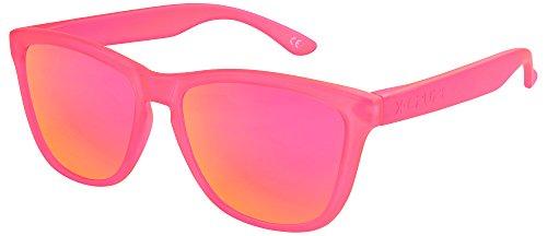 X-CRUZE 9-058 Gafas de sol Nerd polarizadas estilo Retro Vintage Unisex Caballero Dama Hombre Mujer Gafas - rosado-transparente mate/rosado-anaranjado tipo espejo