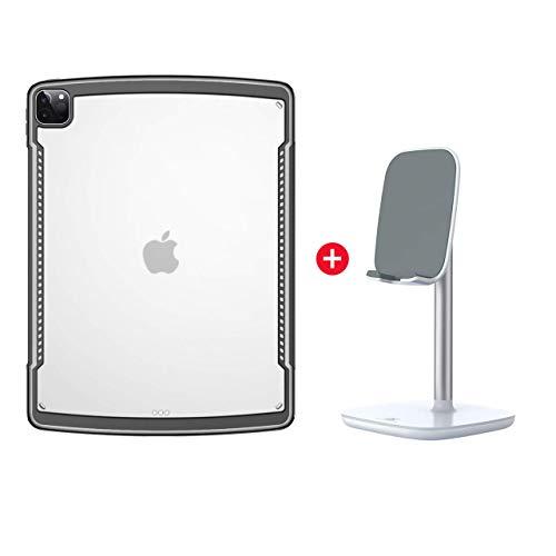 Funda para iPad Pro 11 2020, Premium Ultra Slim Absorbente de TPU Flexible Protectora Transparente con Borde de Almohada de Aire [Admite la Carga del lápiz de Apple,Black with Stand