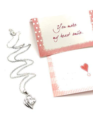 Smiling Wisdom - You Make My Heart Smile! Gift Set - Encouraging Card & Silver Plated Cute Heart Necklace for Women & Girls, Tween, Teens, Daughter, Women, Her - Silver