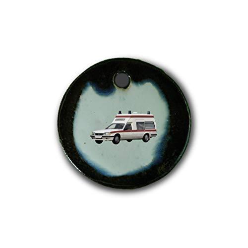"""Muy bonito colgante de cerámica """"ambulancia"""" jaspeado en marrón-azul-verde;"""
