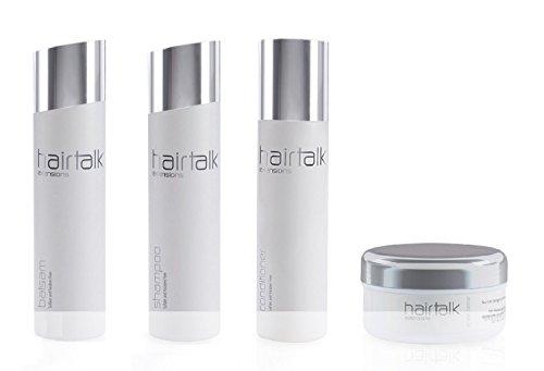 HAIRTALK Arcos KOMPLETT Pflegeset Shampoo 250 ml + Balsam 250 ml + Conditioner 200 ml + Repair Creme 250 ml ( neue Größe ) für Extensions,Haarverlängerungen,Bondings