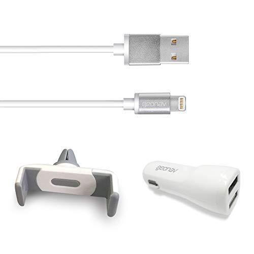 kit 3 em 1 veicular para iPhone, composto de 1 cabo para iPhone, iPad, iPod lightning conector original Mfi Apple 1MT, carregador veicular 2 portas USB, suporte veicular, Branco, LIGH31, Geonav