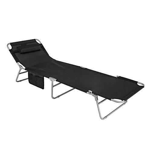 SoBuy® OGS35-SCH Gartenliege Sonnenliege Relaxliege mit Seitentasche Liegestuhl klappbar Strandliege in schwarz