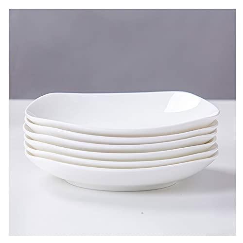 Platos Placas de cena de Pocelain Conjunto de 6 Cocina Juego de vajillas para platos Placas de aperitivo Ensalada y platos de postre Microondas Horno y lavavajillas Caja fuerte (blanco) Platos de Cena