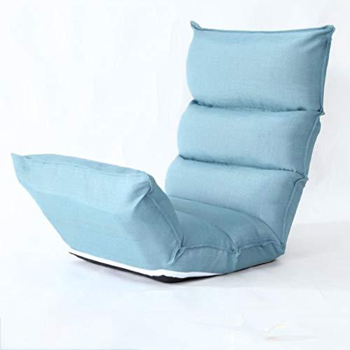 Huahua Furniture Bodenstuhl, Lounge-Schlafsofa Klappbarer 5-Positionen-Verstellbarer Hochlehner-Schlafsessel mit Futon-Matratzensitz (Color : Lake Blue)