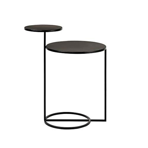 Mesa auxiliar para decoración del hogar Sofá Mesa auxiliar moderna Negro Mesa de café Mesa lateral con 2 estantes de almacenamiento de hierro forjado de la sala redonda pequeña mesa de café Sofá Mesa