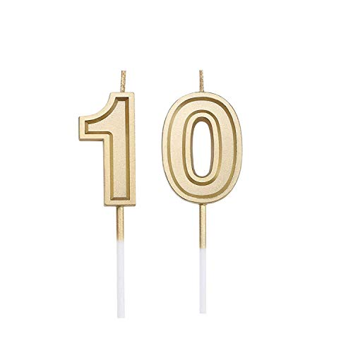 Bailym 10th Birthday Candles, Gold Number 10 Cake Topper for Birthday Decorations Party Decoration