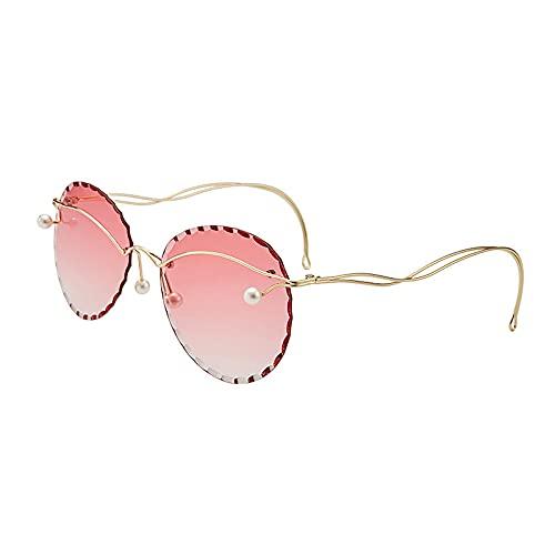 HAOMAO Gafas de sol redondas sin montura de gran tamaño con espejo perlado degradado para mujer 5