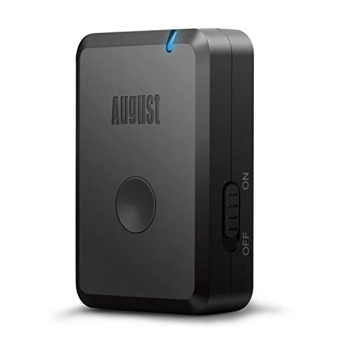 August MR250B - Bluetooth Audio aptX Low Latency Transmitter mit Akku - Audio Sender mit aptX LL für Fernsehgeräte & Musikanlagen - Plug & Play 3,5mm AUX Adapter - kabelloses Musikstreaming auf Ihre Kopfhörer oder Lautsprecher – Schwarz