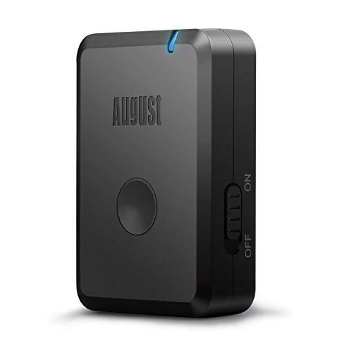 August MR250 Transmisor Bluetooth de Música – Adaptador Inalámbrico de Audio para Equipos de Música / Estéreos / Auriculares / Altavoces / - Batería Interna Recargable