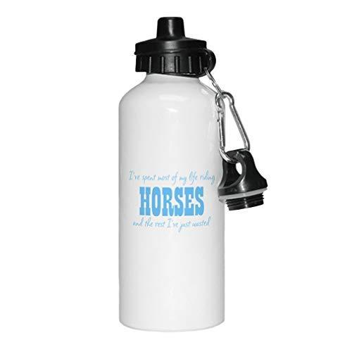 aqf527907 Lichtblauw Ik heb het grootste deel van mijn leven Riding Paarden Nieuwigheid Wit Sport Waterfles Aluminium, School Waterfles, Verjaardag, voor mannen, voor vrouwen