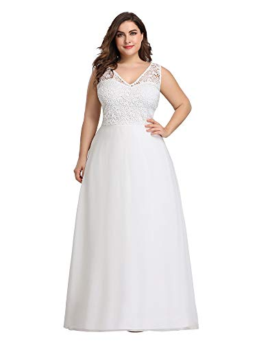 Ever-Pretty Womens Plus Size Sleeveless Lace Chiffon Party Wedding Dresses for Bride US 22 White