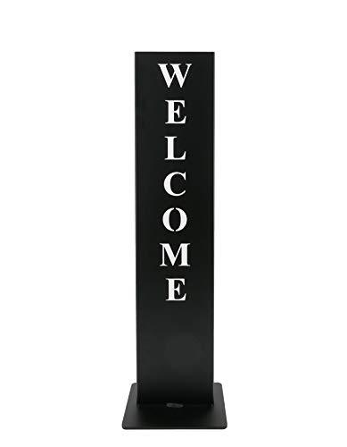 tradeNX Tuinstandaard, staal, zwart, decoratieve tuin, decoratieve huisingang, deur, hoogwaardig massief 72x20x15cm Welcome