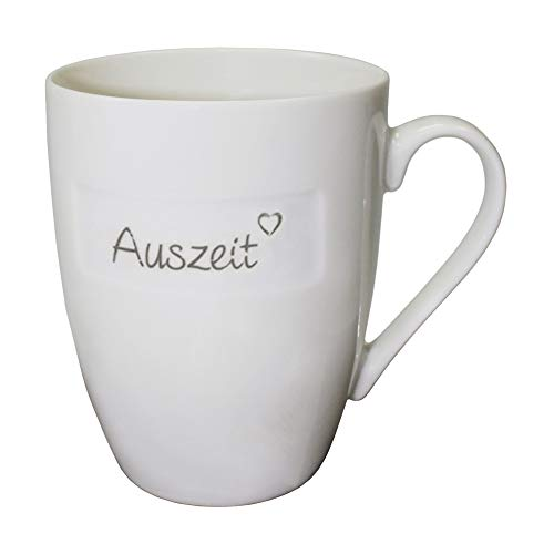 Haus und Deko Kaffeetasse Beschriftung Auszeit Grau auf Weiß Henkel Tasse moderner Porzellan Becher