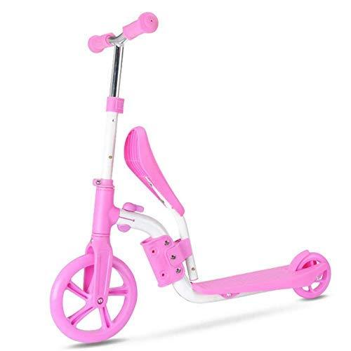 2 en 1 Scooters con Asiento Fing Patinete Ajustable Patineta para niños Bicicleta de Equilibrio