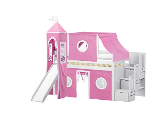 Princess Low Loft Stairway Bed with Slide Pink & White Tent and Tower, Loft Bed, Twin, White