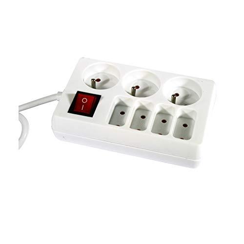Regleta con 7 enchufes con interruptor, color blanco
