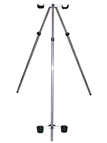 Parker Angling 3 5ft Telescopic Fishing Tripod Rod Rest with Double U Heads and Cups