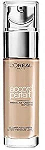 l Oréal Paris Fondotinta Fluido Coprente Accord Parfait, Risultato Naturale, No Effetto Maschera, 3D 3W Beige Doré Golden Beige