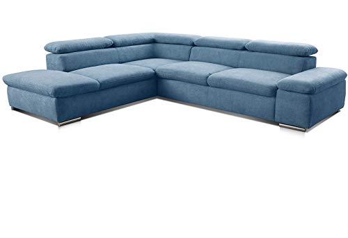 Cavadore Ecksofa Alkatraz / Großes Sofa in L-Form mit Ottomanen links und verstellbaren Kopfstützen/ Modernes Design / 274 x 66 x 228 cm / Blau