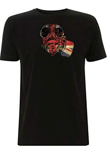 T-Shirt inspiriert von SAS Gasmaske, Union Jack, Grafik, britischer Soldat, Gamer, GB Armee, geheime Spezialluftdienstruppen Pilot Gr. S, Schwarz