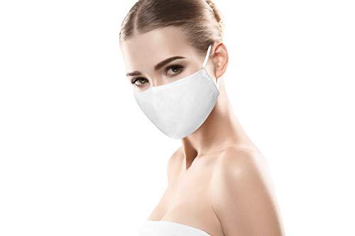 Mundschutz Maske 100% Baumwolle Weiss Mund- & Nasenmaske Unisex 3-lagig Wiederverwendbare Masken