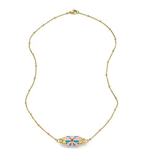 MIKUAX collarCollar Colgante de corazón para Mujer Collar de Cadena Larga de Oro Bohemio Pareja Pop Art Punk Hip Hop joyería de Moda