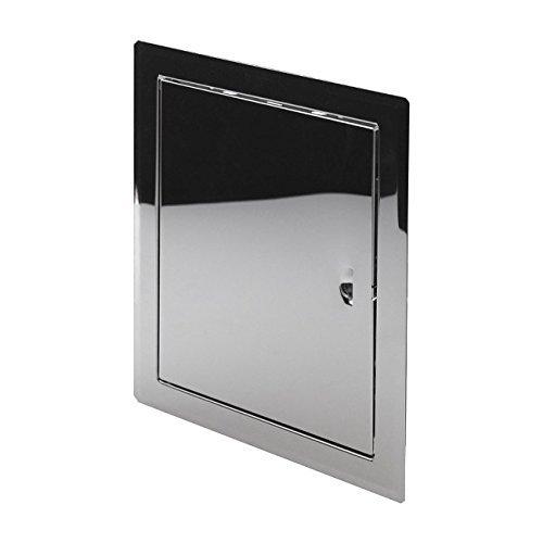Hochwertige Metall-Wandtür, Revisionstür, Klappe, Zugang zu eingebauten Inspektions- und Service-Elementen, Weiß, silber