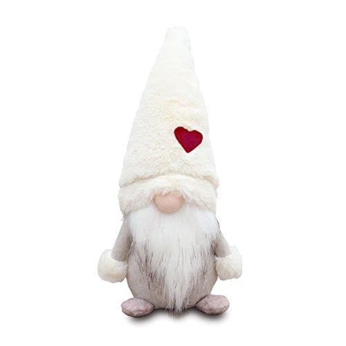 Amazlab Swedish Christmas Santa Gnome Plush Doll, Handmade Scandinavian Tomte Nordic Nisse Sockerbit Elf Dwarf Decoration, Christmas Party Gifts,White, 11 Inch