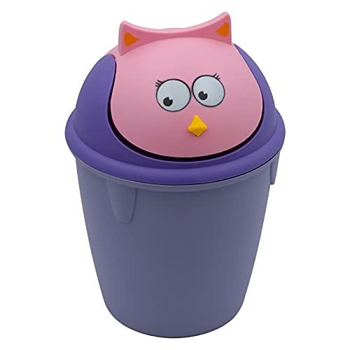 clic-and-get 6 Liter Eimer Tiere für Kinder Abfalleimer, Mülleimer, Papierkorb Schwingdeckel, Müllsackständer, Abfallbehälter, Kosmetikeimer, Kunststoff (H x Ø ) ca. 34 x 23 cm (Lila-Vogel)