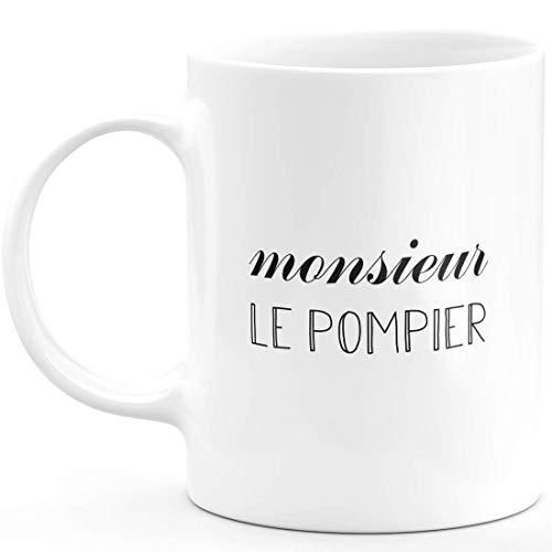 Mug Monsieur Le Pompier - Cadeau Homme pour Pompier Humour drôle idéal pour Anniversaire - Céramique - Blanc