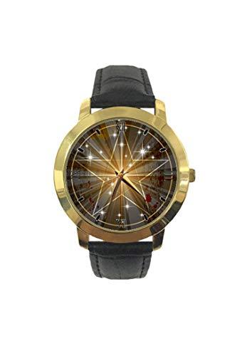 The Ancient Medieval Mystic Pentagram On Radial Beam Background Fashion Reloj de Pulsera para Mujer, Correa de Cuero de Cuarzo, Reloj de Ocio