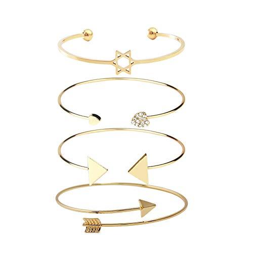 Dsaren 4 Stück Mehrschichtiges Armband Verstellbare Armreifen Set Charmed Herz Pfeil Manschette Armband Schmuck Geschenk für Frauen Mädchen (Gold)