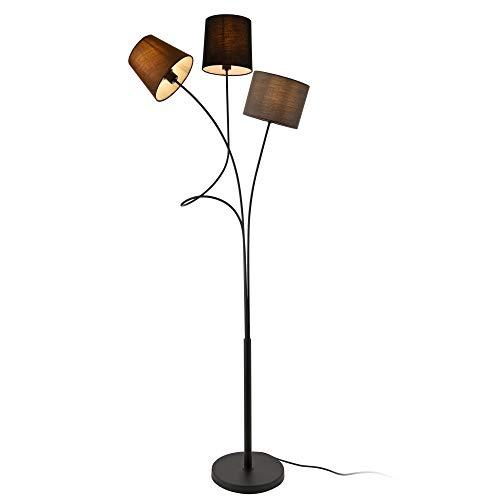lux.pro] Lampada da Terra Treviso Altezza 146 cm 3 x E14, 40W Metallo Tessuto 3 Prese Marrone Nero Grigio
