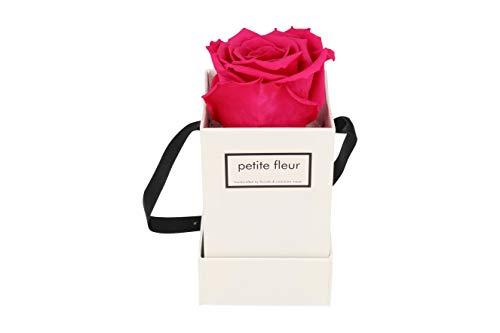 Petite Fleur Infinity Rosen Flowerbox XS weiß - quadratisch 6 x 6 x 15 cm - langanhaltende farbenprächtige dunkelpinke Blüte - 1 konservierte Rose