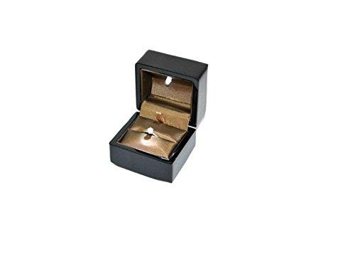PERLORO Étui pour bague en bois laqué noir brillant avec LED 75 x 76 x H 60 mm LCK1