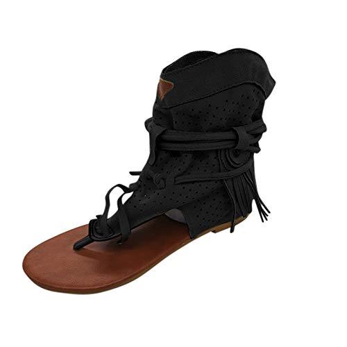 Damen Sandalen Retro Bequeme Flache Beach Strandsandale Peep Toe Zehentrenner Sommer Sandals Freizeitschuhe(1-Schwarz/Black,40) 2008