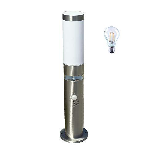 LED-Edelstahl-Außen-Socke-Leuchte-Lampe LISA 3, H: 50 cm, D: 7,6 cm, Kunststoffglas, Bewegungsmelder, inkl. LED E27 1x6W, Grundlichtring 12x LEDs fest eingebaut, Dämmerungssensor, IP44