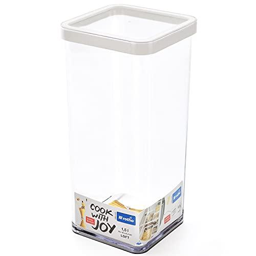 Rotho Loft quadratische Vorratsdose 1,5l mit Deckel und Dichtung, Kunststoff (SAN) BPA-frei, weiss/transparent, 1,5l (10,0 x 10,0 x 21,4 cm)