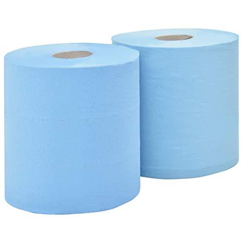 UnfadeMemory Rollos de Papel Industriales,Papel para Limpiar,Excelente para Absorber Aceite y Agua,Azul (2 Rollos, 2 Capas 20cm)
