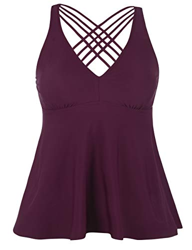 Firpearl Women's Tankini Swimsuits Cross Back Flowy Swim Tops Modest Swimwear US12 Burgundy