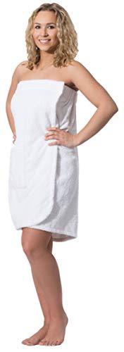 ZOLLNER dames saunahanddoek, katoen, wit, S/M, klittenbandsluiting
