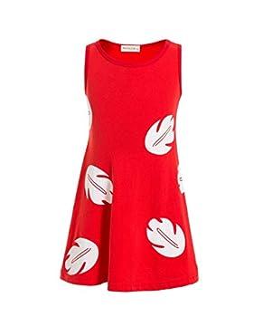 Lilo Hawaiian Dress Inspired Sleeveless Dress Lilo Princess Dresses for Girls Toddler  Red 7-8T